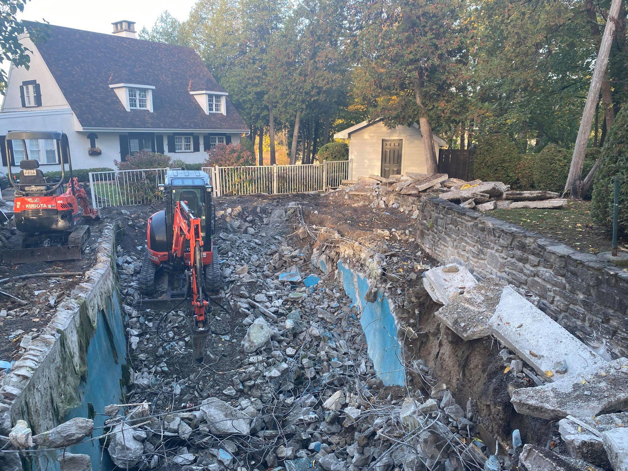 travaux d'excavation drain d'égout
